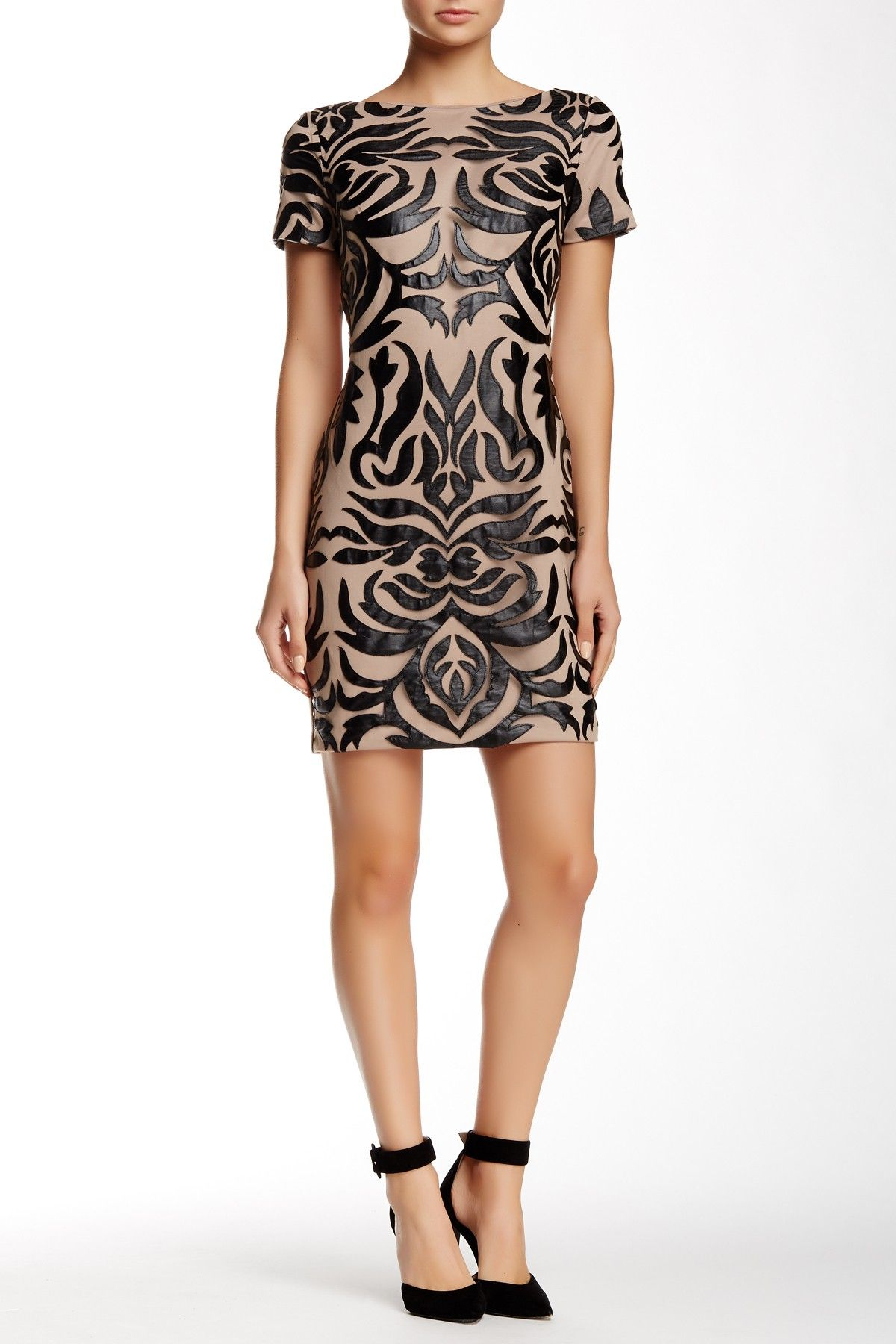 be9f49e787c Faux Leather Embroidered Dress