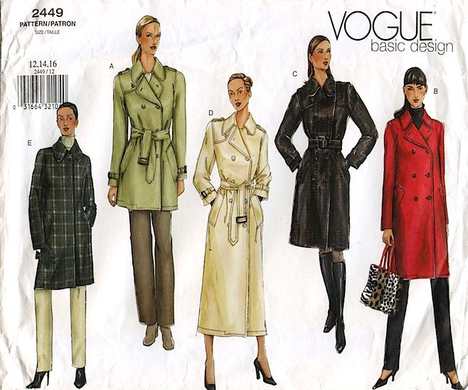 Vogue 2449 trench coat pattern, recommended by kazzthespazz   Sewing ...