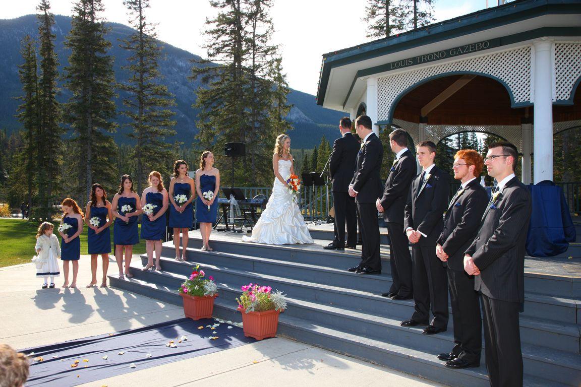 Wedding Ceremony At Banff's Central Park Gazebo