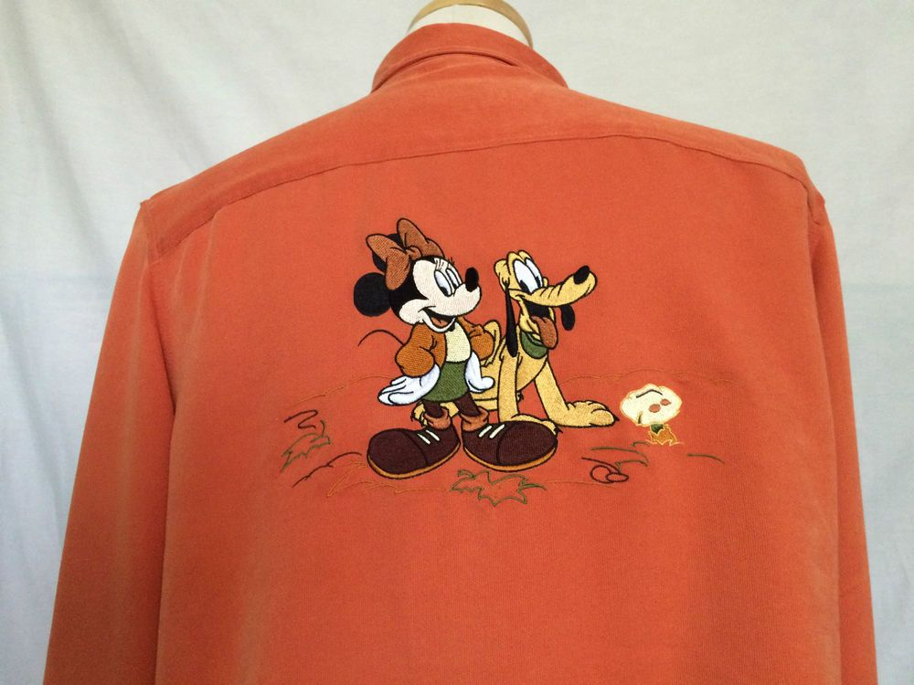 Disney womens blouse orange long sleeves embroidery Minnie Mouse Pluto size XL | eBay