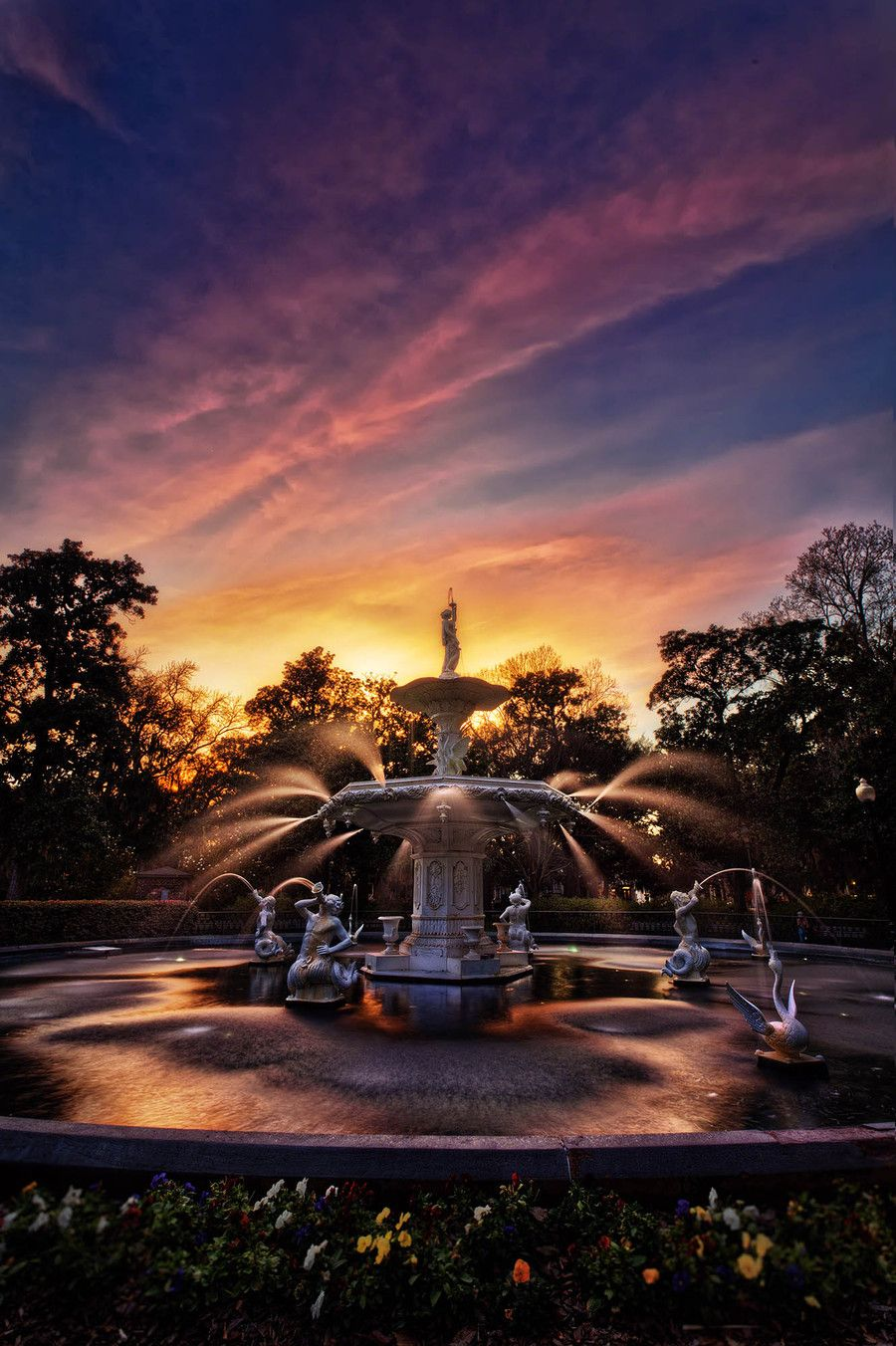 Forsyth Park Fountain Sunset Forsyth Park Savannah Chat Travel Photography