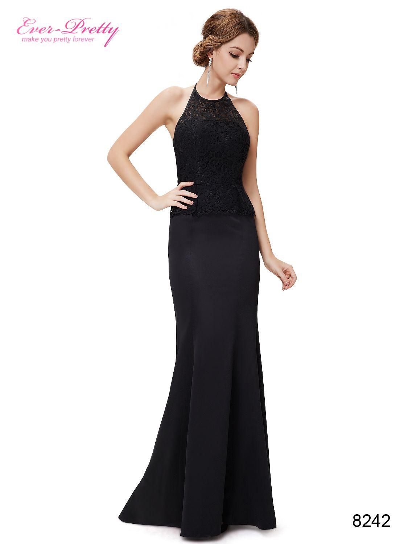Black Elegant Halter Mermaid Maxi Evening Prom Dress #halloween ...