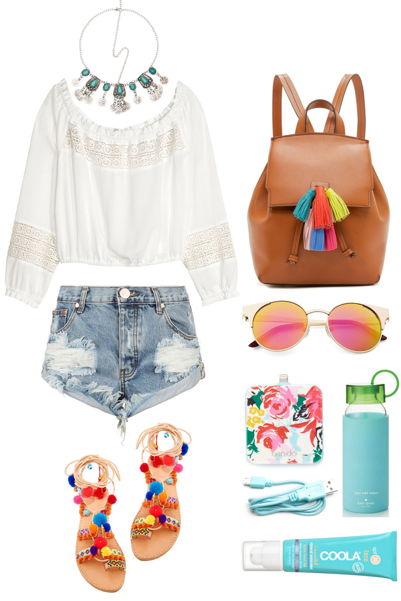 Shop This Outfit Top Here Denim Shorts Here Here Here Turquoise Headpiece Here Tassel Backpack Here Pom Pom Sandals Outfit Style Boho Fashion Summer