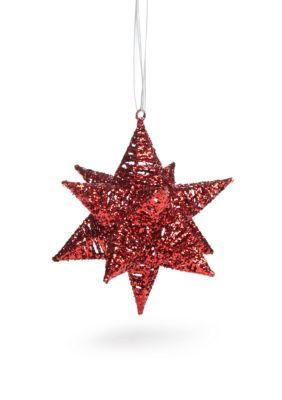 Home Accents Merry Bright Red Glittery 3d Star Ornament Star
