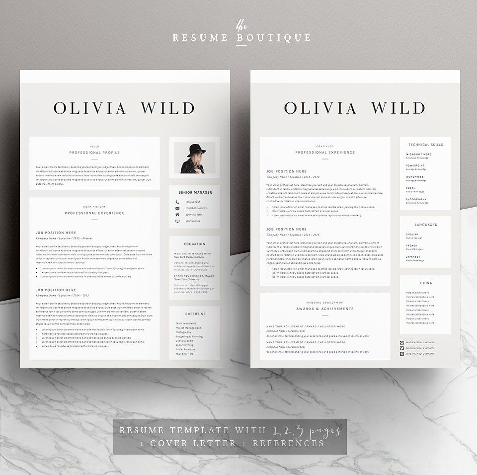 Unique Resume Templates Stunning 5 Page Resume Template  Ultra Chic  Resumes  2  Resume Inspiration