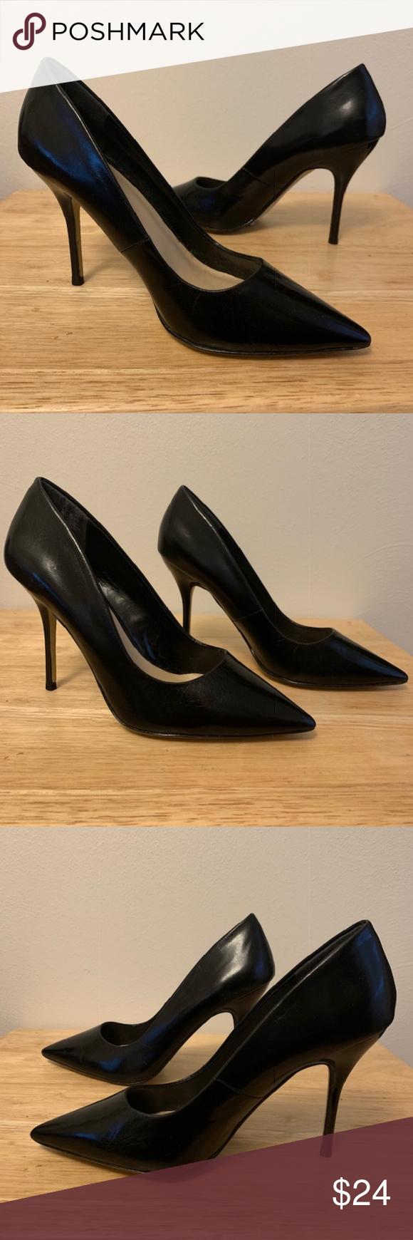 Worthington Black Leather Heels Size 7