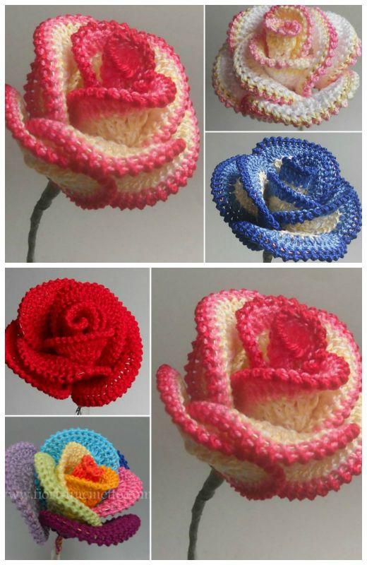 Crochet Rose Wire Petaled Rose Free Pattern | Crochet Amore ...
