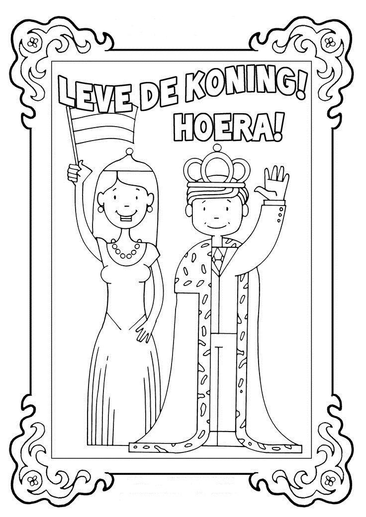 Kleurplaat Koningsdag Holland Pinterest School Kings Day And