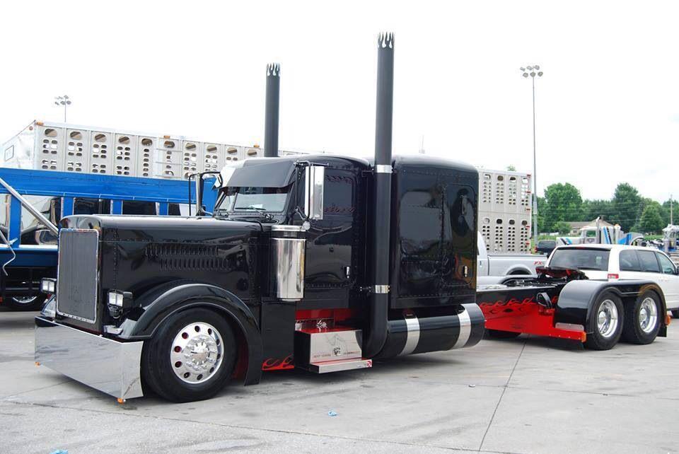 Black Peterbilt W Red Frame Trucks Big Trucks Big Rig Trucks
