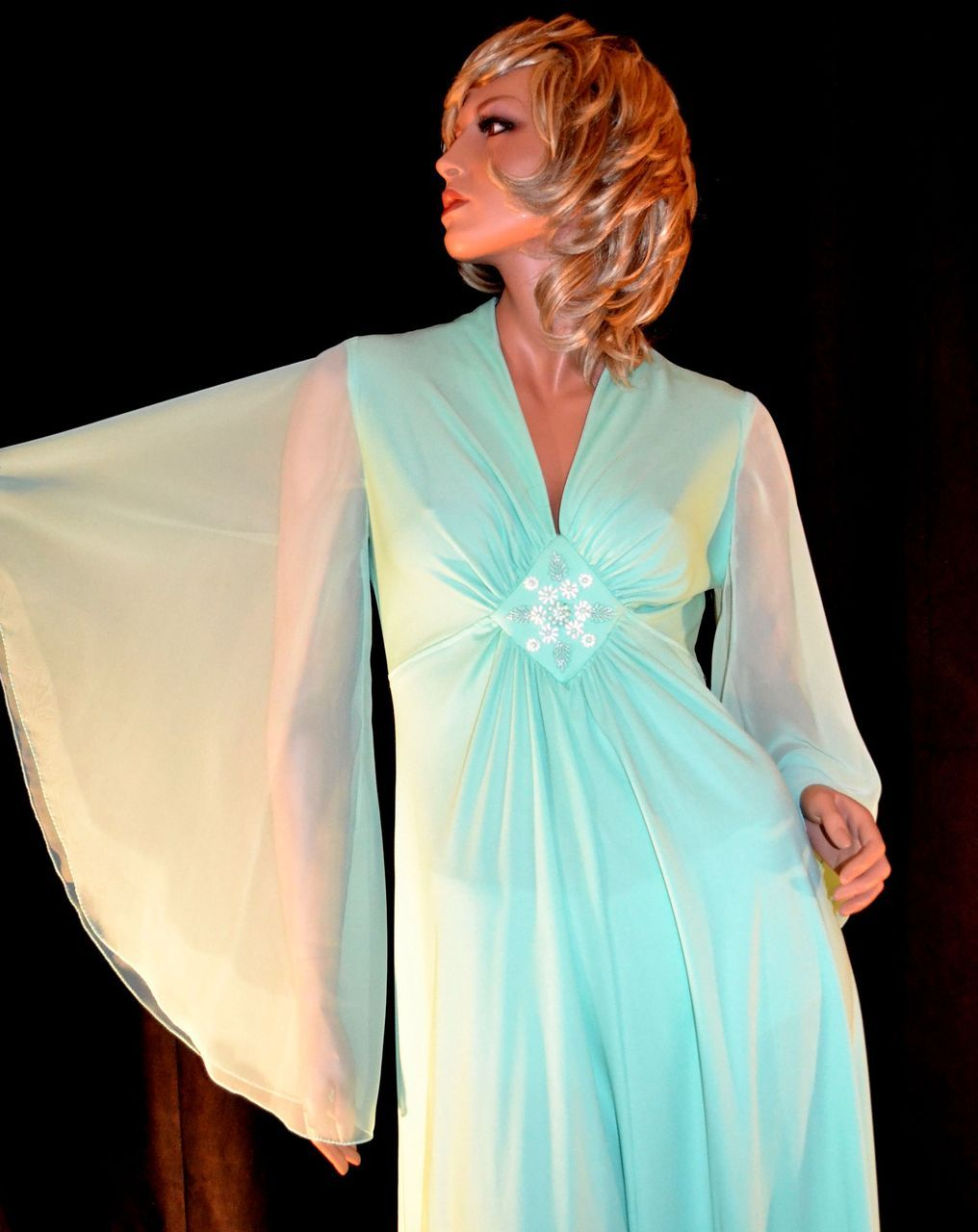 1970s Mint Green Butterfly Sleeve Beaded Evening Gown | Beaded ...