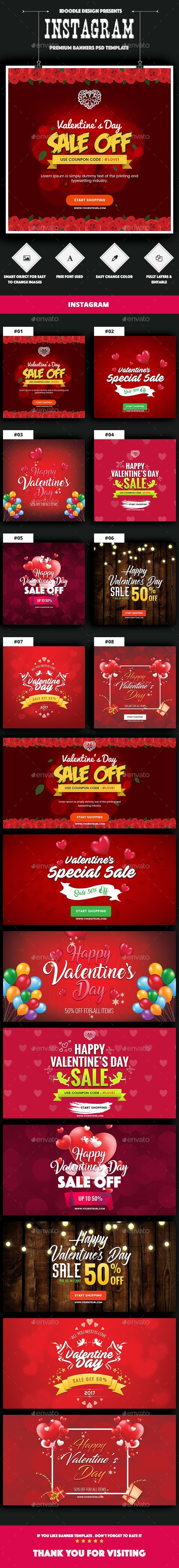 NewsFeed Valentines Day Banner Ads  16 PSD 02 Size Each