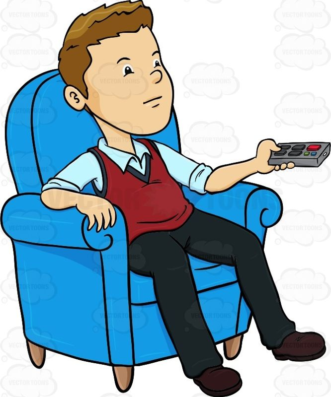 Man Sitting In A Blue Chair With A Remote Control In His Hands Man Sitting Blue Chair His Hands