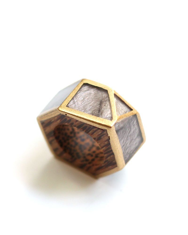 Sylca Designs Grey and Gold Geometric Ring
