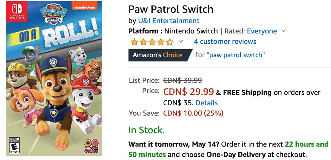 Amazon Canada Deals Save up to 25 on Paw Patrol Switch