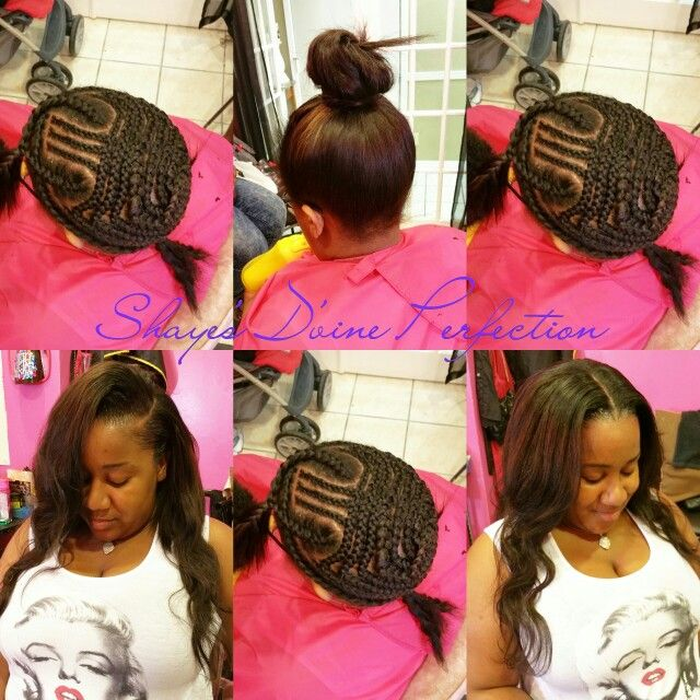 2 Part Flip Over Method Sew In Black Hairstyles Pinterest