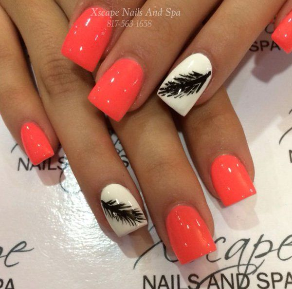 Feather nail art Feather Nail Designs, Feather Nail Art, Short Nail Designs,  Cute - 40+ Examples Of Feather Nail Art !♥ Nail Designs Gallery