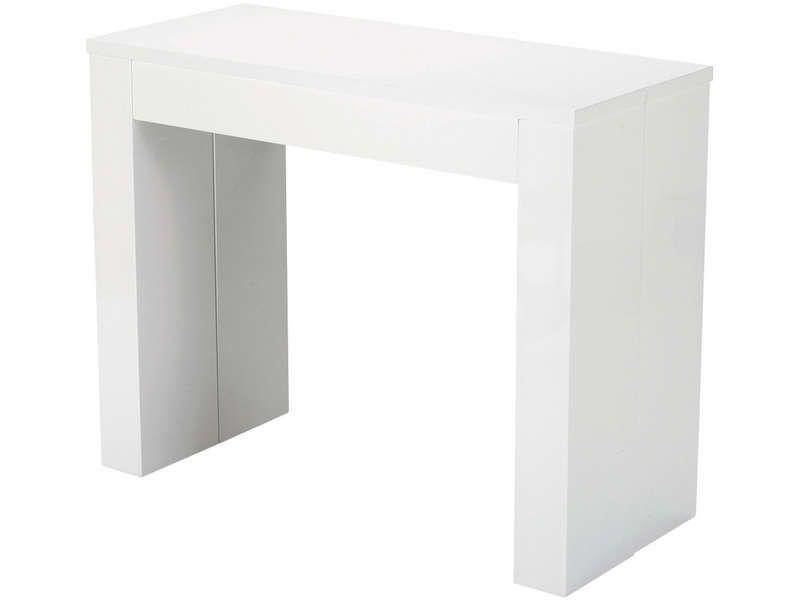 Table Rectangulaire Peninsule Coloris Blanc Vente De Console Et Gueridon Conforama Console Extensible Console Conforama Console Verre