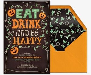 Eat Drink And Be Happy Invitation Halloween Cards Pinterest