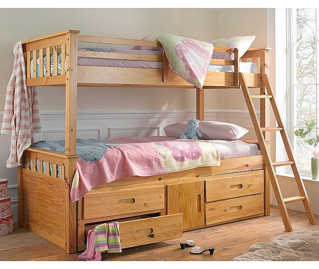 Captain. Solid Pine Triple Sleeper Bunk Bed with Pullout Guest Bed ...