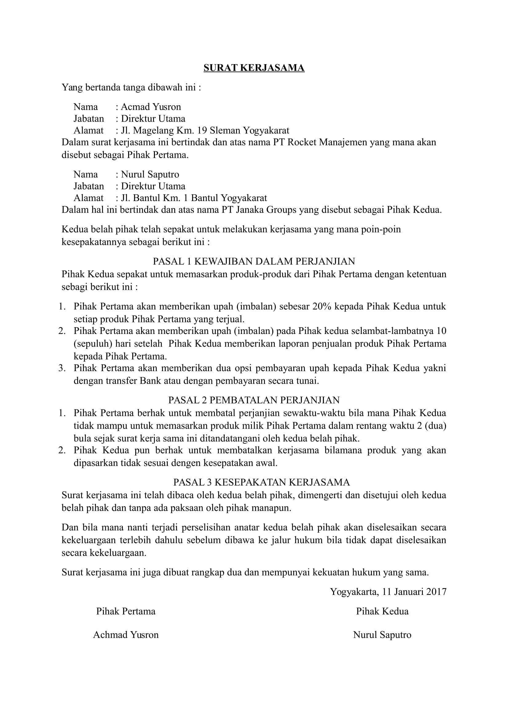 Contoh Surat Kerjasama Surat Tanda Pemerintah