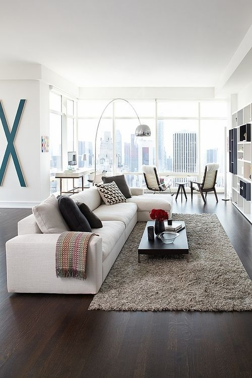 Contrast Dark Pine Floors And White Everything Else With Hints Of Color But No Rug For A S Living Room Decor Modern Interior Design Living Room House Interior