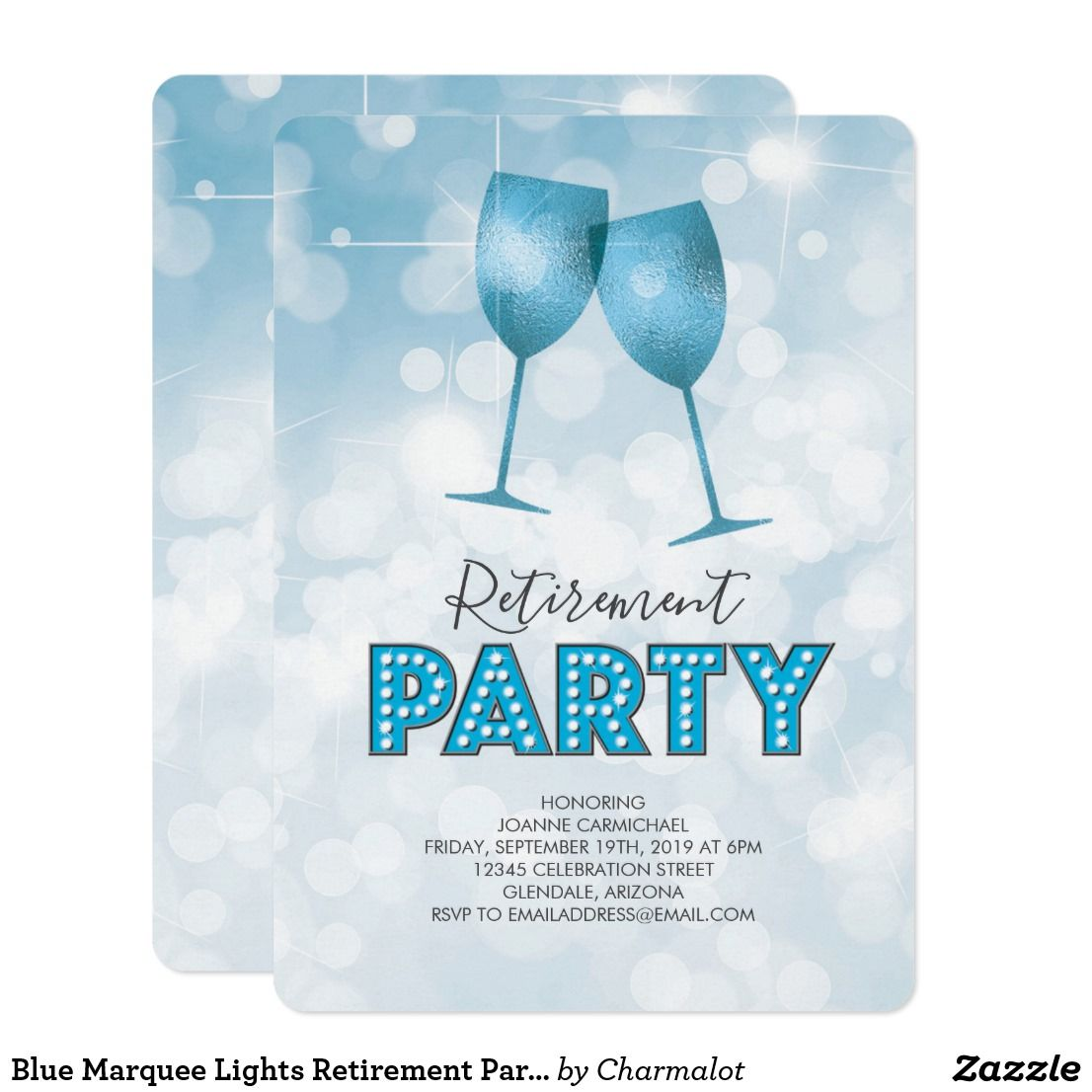 blue marquee lights retirement party card  retirement