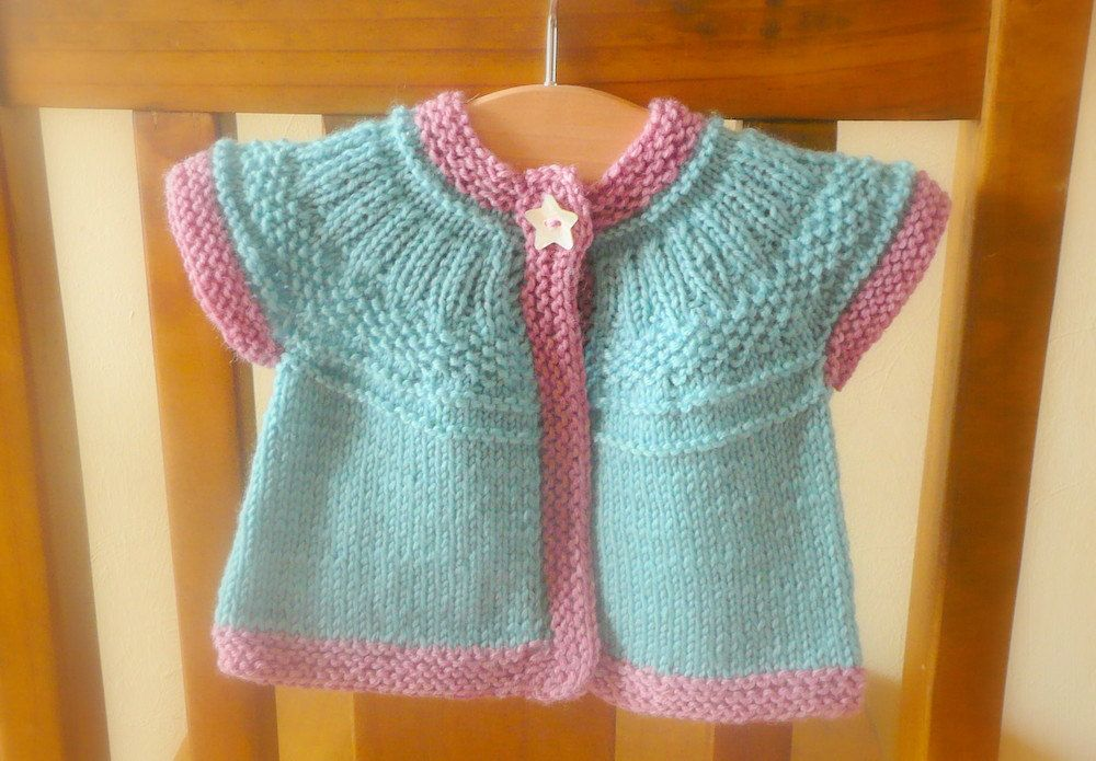 Knitted Baby Vest Pattern : Knitting PATTERN Seamless Top Down Baby Girl CARDIGAN Sweater - Seren a top d...