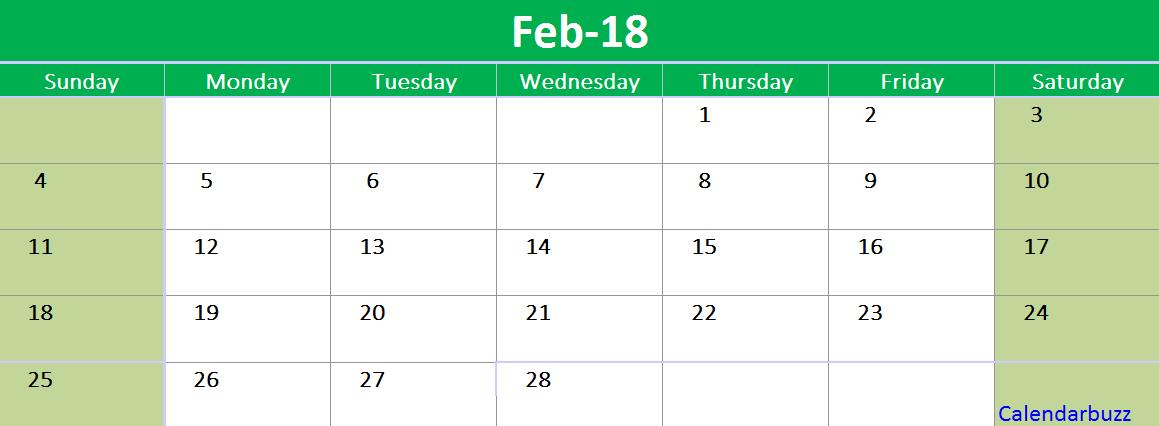 february 2018 excel calendar