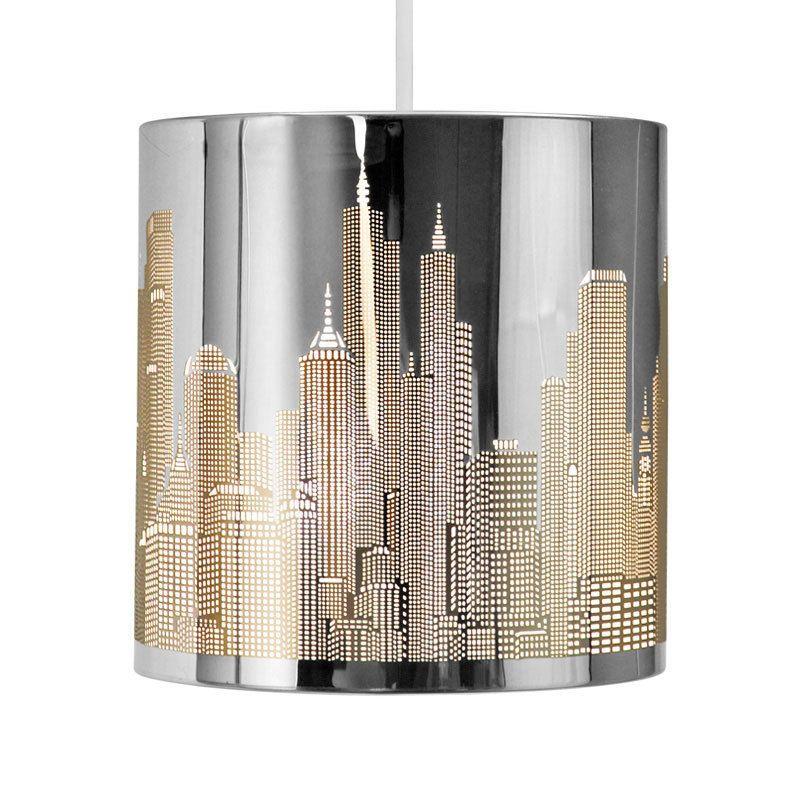 Modern New York Skyline Silver Chrome Ceiling Pendant Light