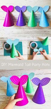 Printable Mermaid Tail Party Hats Under the Sea Party Mermaid Party Mermaid Birthday Party Mermaid Party Decorations Instant Download  Summer Crafts