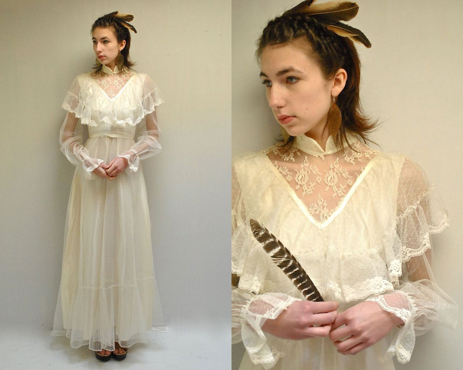 Boho wedding dress s wedding dress the latania vintage