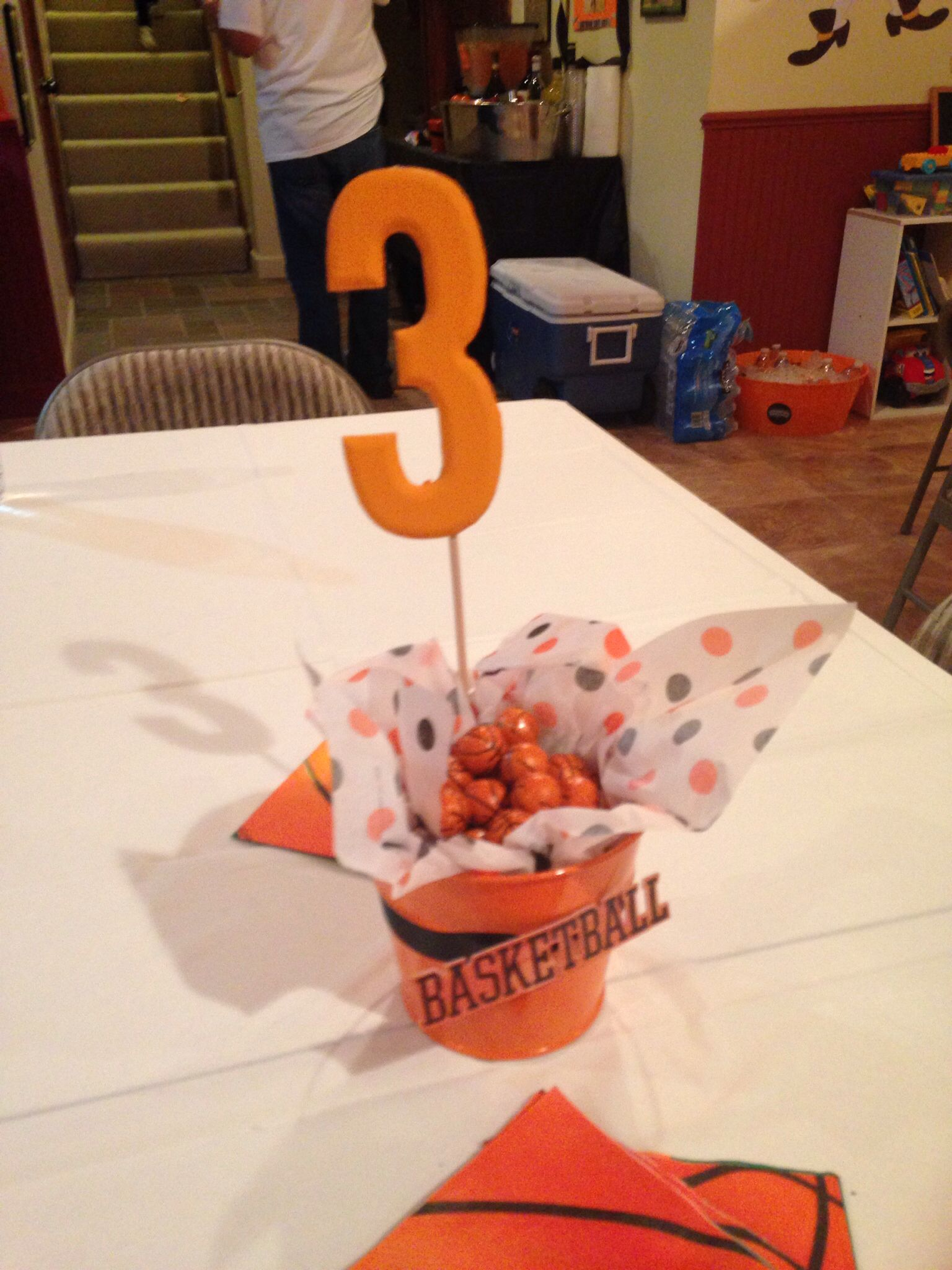 Centerpieces basketball theme birthday bash