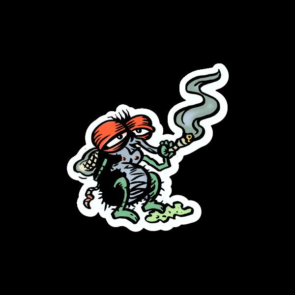 Fly smoking weed sticker vinyl stickers marijuana stickers clear stickers