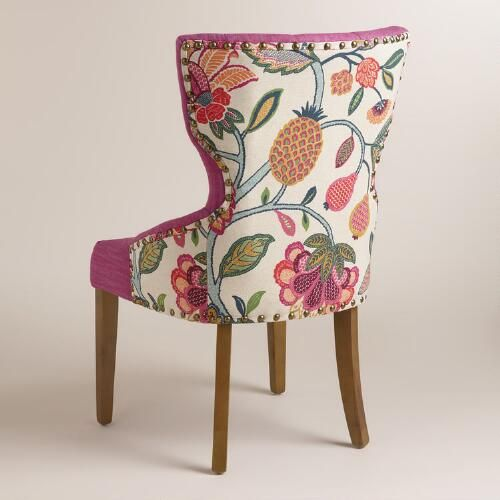 Superior Timeless Grace Floral And Pink Linen Maxine Dining Chair | World Market