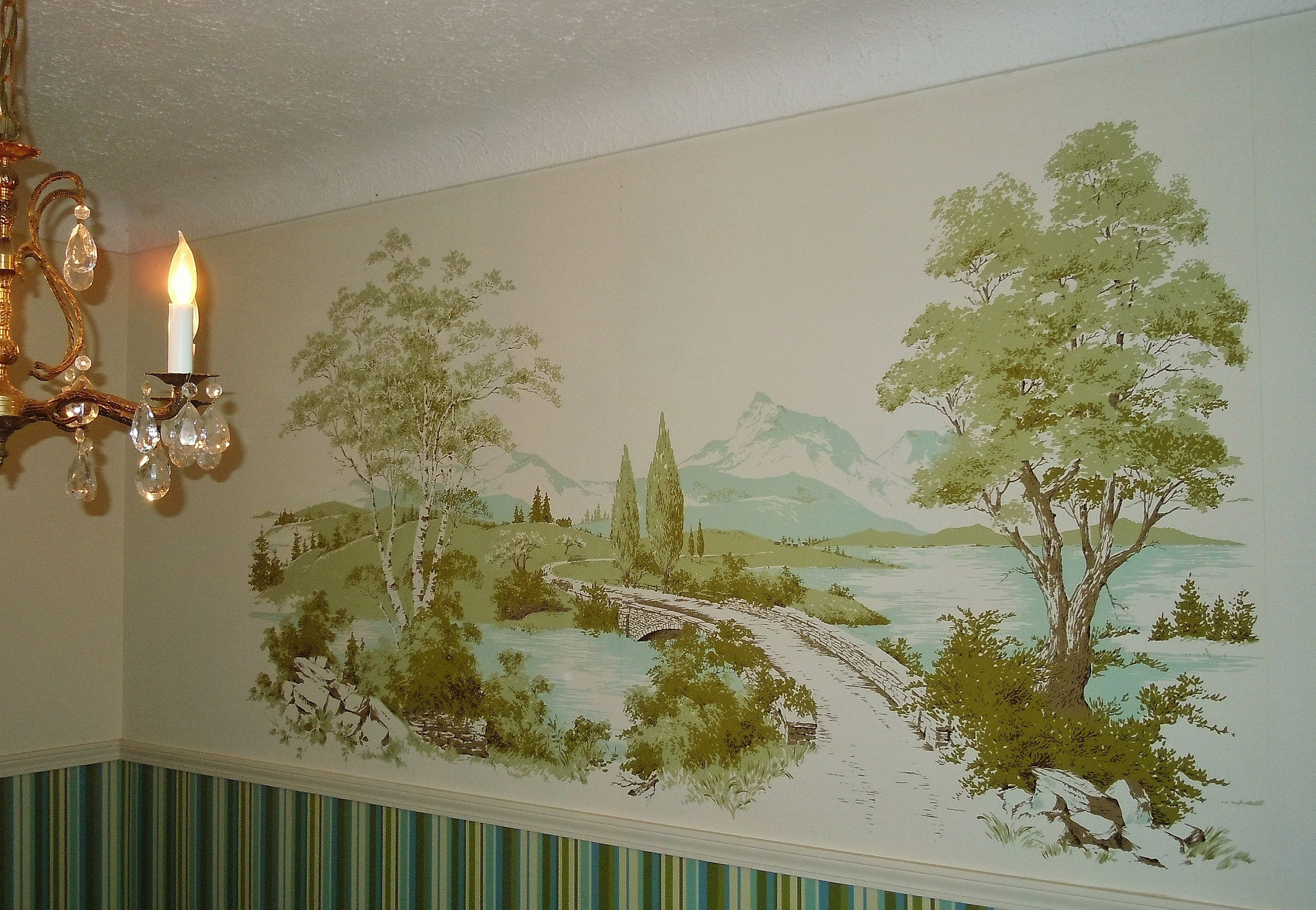 Vintage wallpaper wall mural 1960 39 s home decor photo for Vintage wallpaper for walls