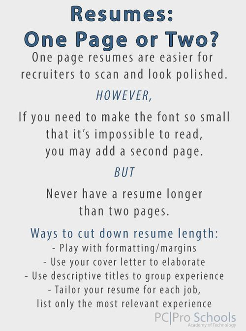 Should your resume be one page or two? - PC Pro Schools Career - one page resumes