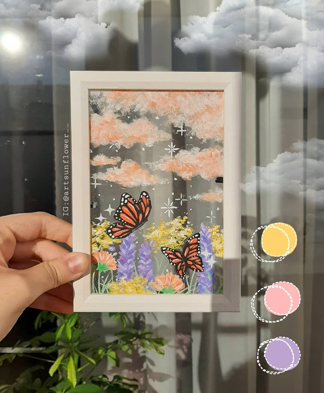 Mary On Instagram Hii I Painted This Yesterday And It S Look Soo Cute And Aesthetic I M Really Proud Of In 2020 Small Canvas Art Mirror Painting Aesthetic Art