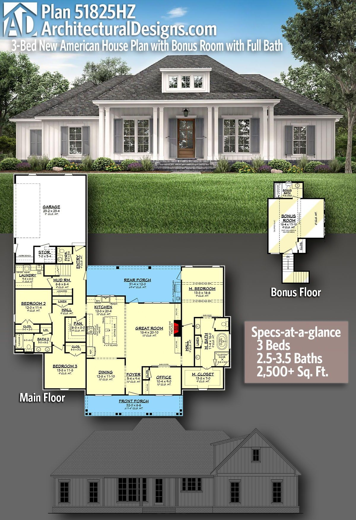 Plan 51825hz 3 Bed New American House Plan With Bonus Room With Full Bath In 2020 American Houses House Plans House Plans For Sale