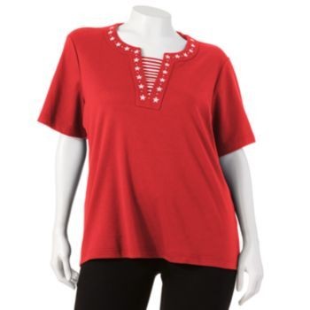 Cathy Daniels Embroidered Mock-Layer Top - Women's Plus