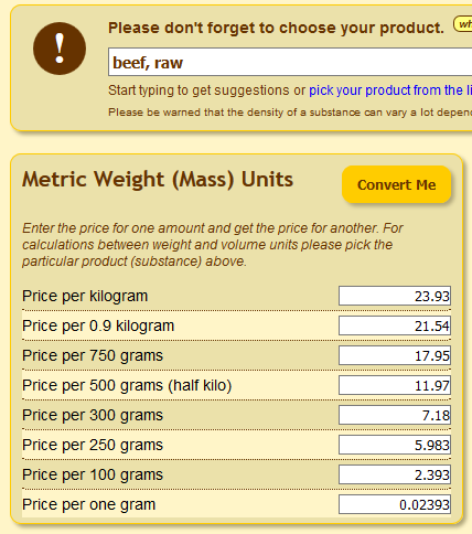 Food Price Conversion Online Units Converter