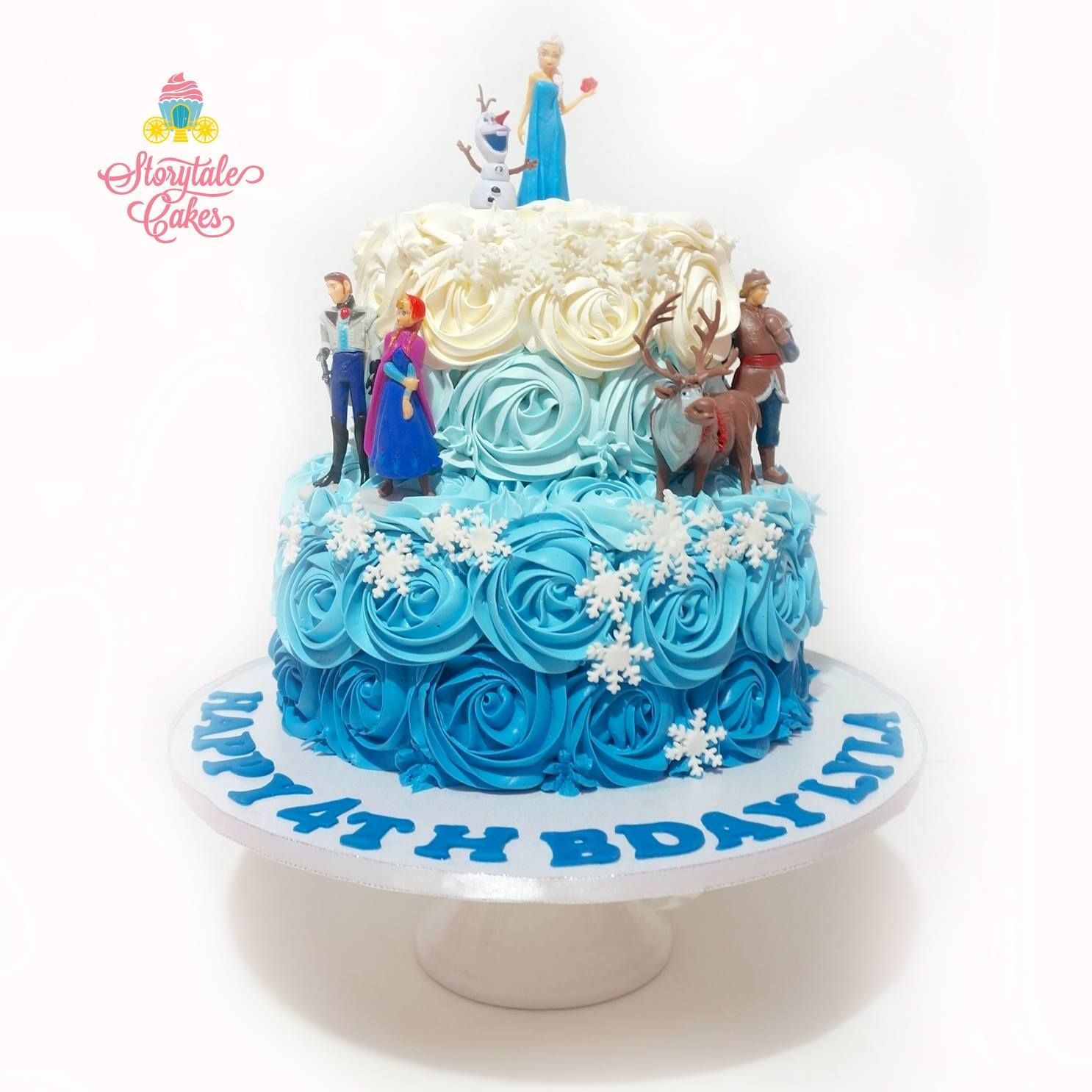 2 Tier Rosettes Frozen Cake Storytale Cakes With Images