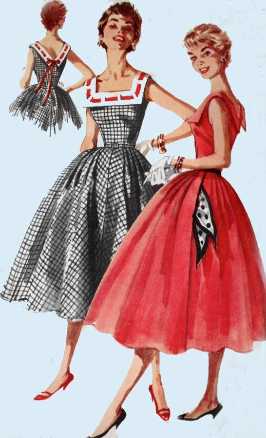 Vintage 1950er Jahre voller Rock Kleid Schnittmuster w / Wide Square ...