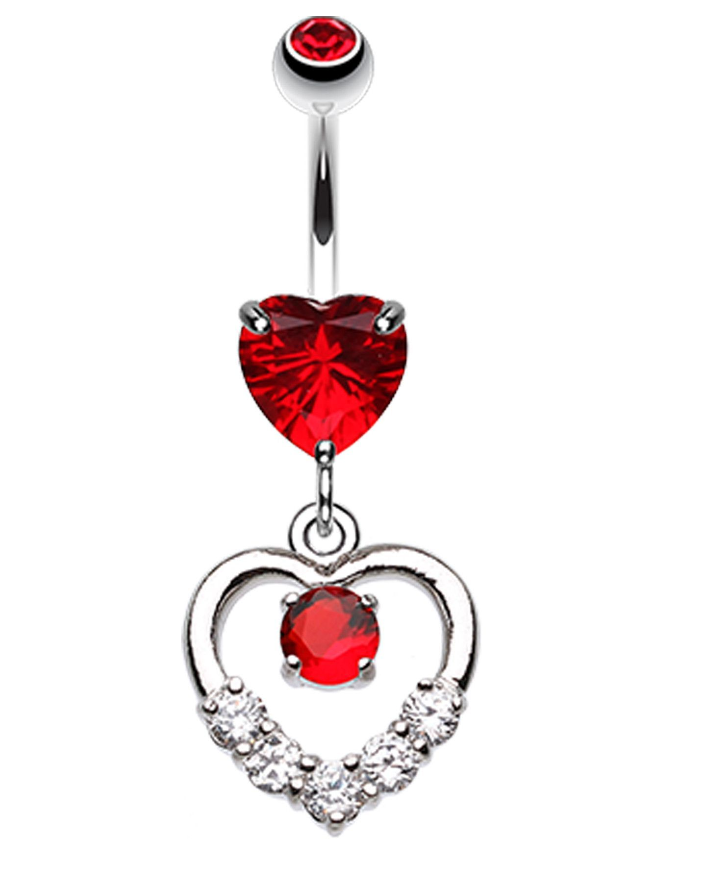 Belly button piercing stud  Lusterous Double Heart Belly Button Ring  Belly button Ring and