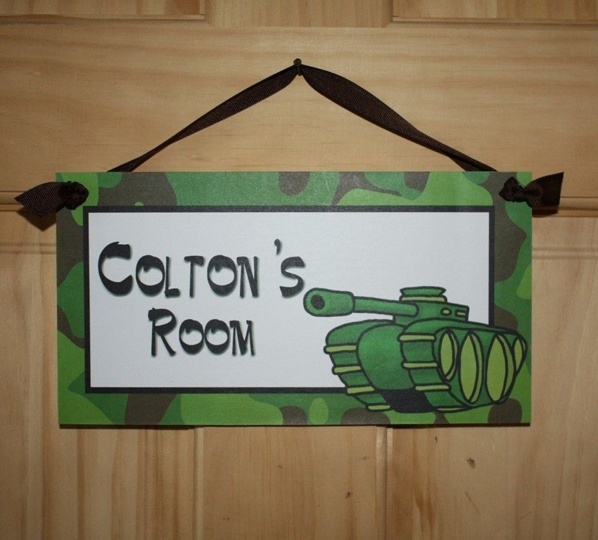 Brennan's room: Camo Army Tank Boys Bedroom DOOR SIGN Wall Art. $14.00, via Etsy.