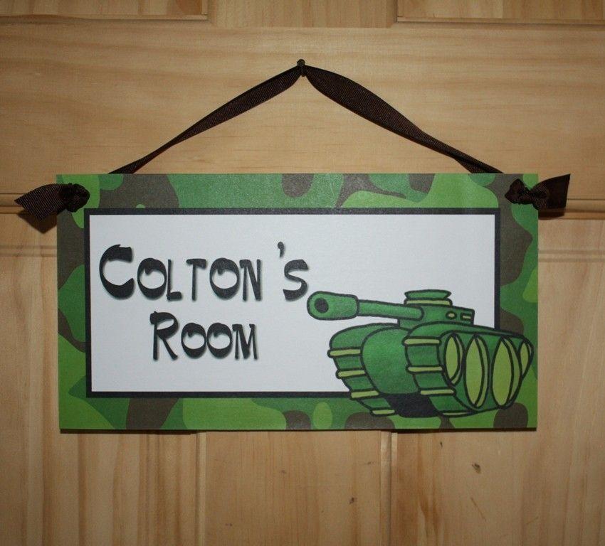 Brennan's room: Camo Army Tank Boys Bedroom DOOR SIGN Wall Art. $14.00, via Etsy.