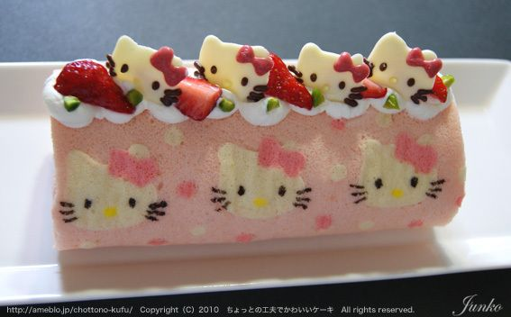 Japanese cake roll with hello kitty designs (recipe in Japanese)