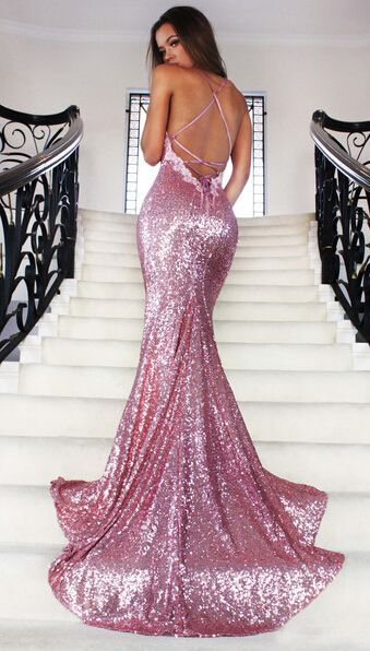 Rose Gold Sequin Mermaid Prom Dress | Prom dresses, Spaghetti ...