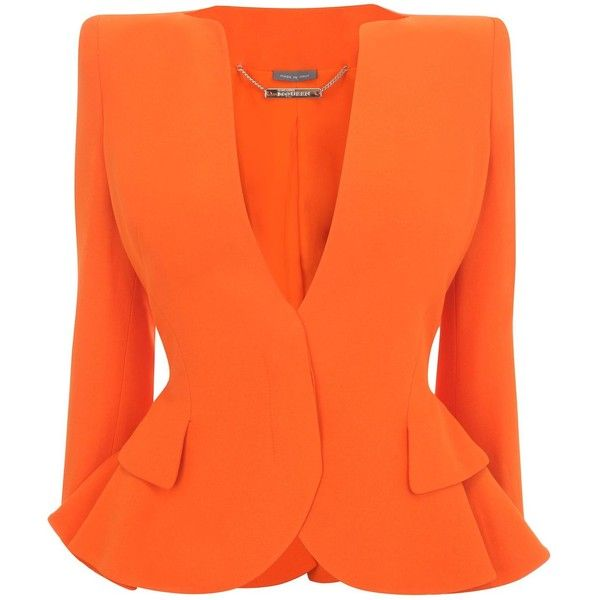 Alexander McQueen Orange Crepe Wing Peplum Jacket ($2,475) ❤ liked on Polyvore