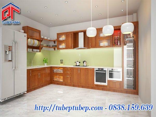 Tủ bếp gỗ tự nhiên thiết kế theo phong cách hiện đại MTB02