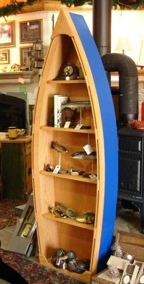 6 Foot Handcrafted Wood Row Boat Bookshelf Bookcase By Spinad1 24900